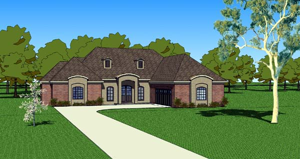 Country, Southern House Plan 57750 with 3 Beds, 3 Baths, 2 Car Garage Elevation