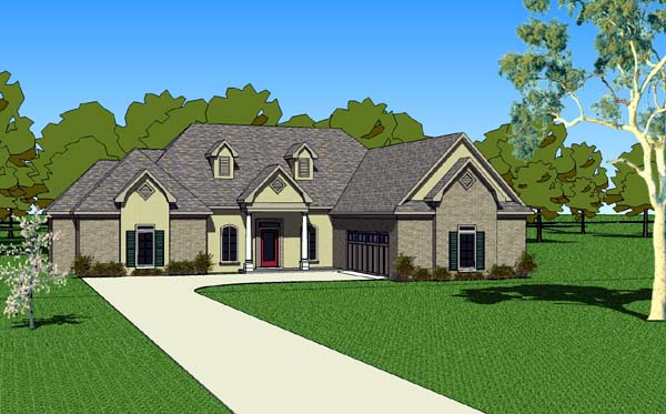 Country, Southern House Plan 57751 with 3 Beds, 3 Baths, 2 Car Garage Elevation