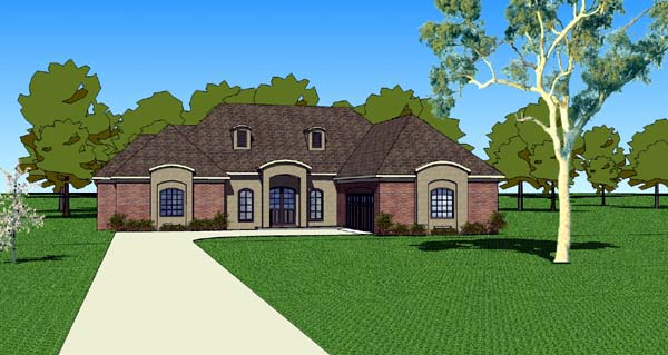 Country, Southern House Plan 57753 with 3 Beds, 3 Baths, 2 Car Garage Elevation