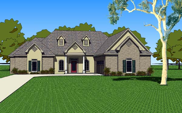 Country, Southern House Plan 57754 with 3 Beds, 3 Baths, 2 Car Garage Front Elevation