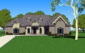 Southern , Country House Plan 57760 with 3 Beds, 3 Baths, 2 Car Garage Elevation