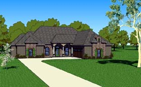 House Plan 57761   Country Southern Style Plan with 1830 Sq Ft, 3 Bedrooms, 3 Bathrooms, 2 Car Garage Elevation