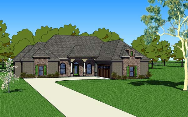 Country, Southern House Plan 57761 with 3 Beds, 3 Baths, 2 Car Garage Elevation