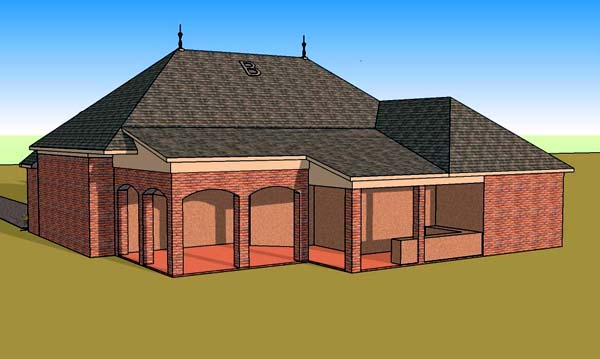 Country European Southern House Plan 57763 Rear Elevation