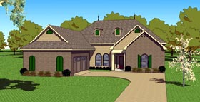 Southern , European , Country House Plan 57764 with 3 Beds, 3 Baths, 2 Car Garage Elevation