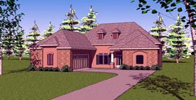 Country , European , Southern House Plan 57767 with 3 Beds, 3 Baths, 2 Car Garage Elevation