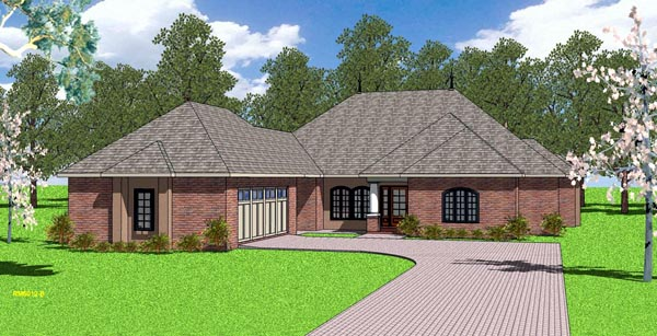 Country , European , Southern House Plan 57788 with 3 Beds, 3 Baths, 2 Car Garage Elevation