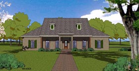 Country Craftsman Ranch Southern House Plan 57794 Elevation