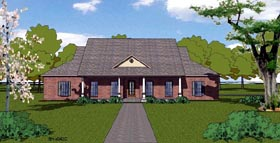 Country Craftsman Ranch Southern House Plan 57795 Elevation