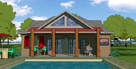 House Plan 57800 | Cottage Craftsman Style Plan with 701 Sq Ft, 1 Bedrooms, 1 Bathrooms Elevation