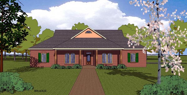 House Plan 57803 | Country Craftsman Ranch Southern Style Plan with 2406 Sq Ft, 4 Bedrooms, 3 Bathrooms, 2 Car Garage Elevation