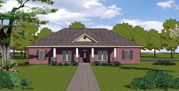 House Plan 57804 | Country Craftsman Ranch Southern Style Plan with 2406 Sq Ft, 4 Bedrooms, 3 Bathrooms, 2 Car Garage Elevation
