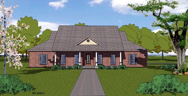 House Plan 57806 | Country Craftsman Ranch Southern Style Plan with 2406 Sq Ft, 4 Bedrooms, 3 Bathrooms, 2 Car Garage Elevation