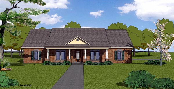 Country Craftsman Ranch Southern House Plan 57807 Elevation