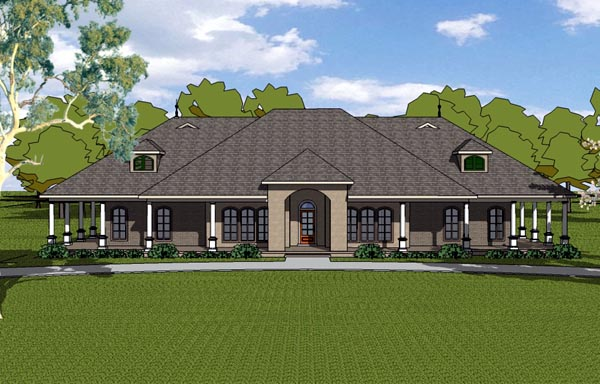 Country Craftsman Florida Southern House Plan 57823 Elevation