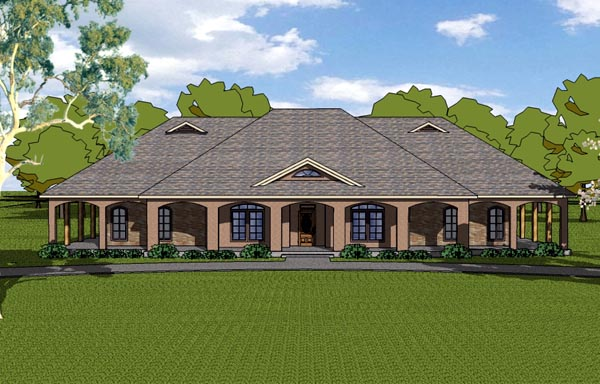 Country Craftsman Florida Southern House Plan 57825 Elevation