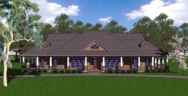 Country Craftsman Florida Southern House Plan 57827 Elevation