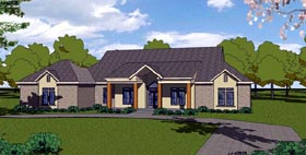 European House Plan 57831 with 3 Beds, 3 Baths, 2 Car Garage Elevation