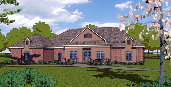 European House Plan 57832 with 3 Beds, 3 Baths, 2 Car Garage Elevation