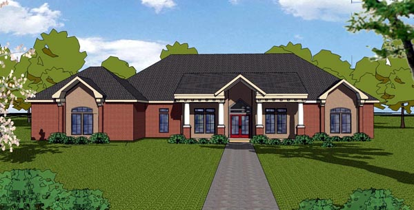 European House Plan 57834 with 3 Beds, 3 Baths, 2 Car Garage Elevation