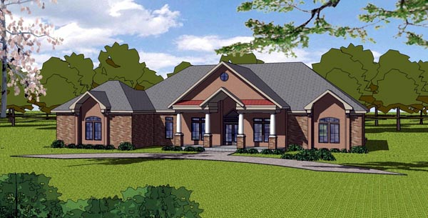 European House Plan 57835 with 3 Beds, 3 Baths, 2 Car Garage Elevation