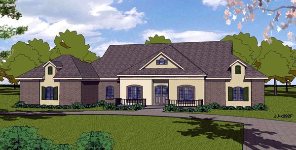 European House Plan 57836 with 3 Beds, 3 Baths, 2 Car Garage Elevation