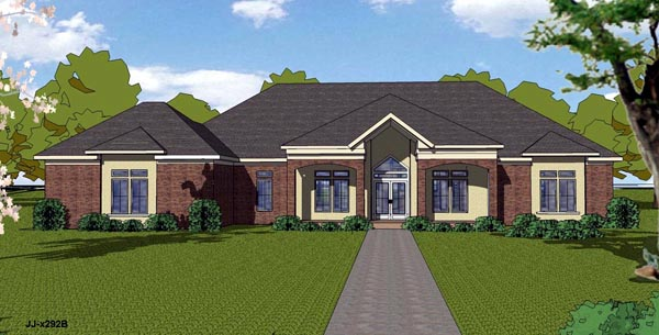 Colonial Contemporary Country Southern House Plan 57839 Elevation