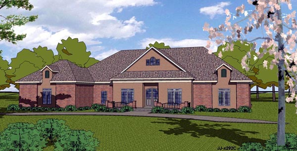 Southern , Country , Contemporary , Colonial House Plan 57840 with 3 Beds, 3 Baths, 2 Car Garage Elevation