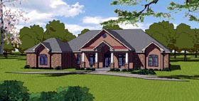 Colonial , Contemporary , Country , Southern House Plan 57842 with 3 Beds, 3 Baths, 2 Car Garage Elevation