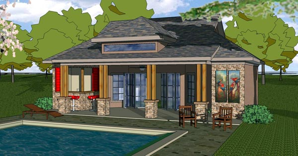 Coastal , Cottage , Southern House Plan 57846 with 1 Beds, 1 Baths Elevation