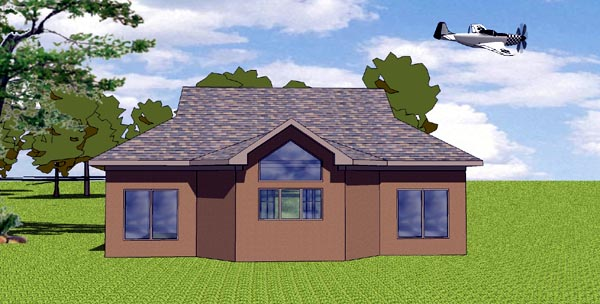 Coastal , Cottage , Southern House Plan 57846 with 1 Beds, 1 Baths Rear Elevation