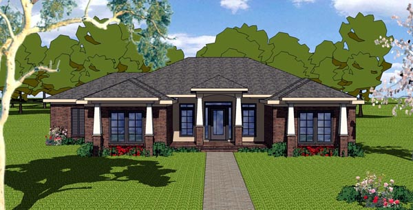 Contemporary, Country, Florida, Southern House Plan 57848 with 3 Beds, 2 Baths, 2 Car Garage Elevation