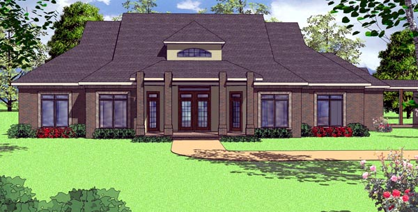 Contemporary, Country, Florida House Plan 57850 with 3 Beds , 3 Baths , 2 Car Garage Elevation