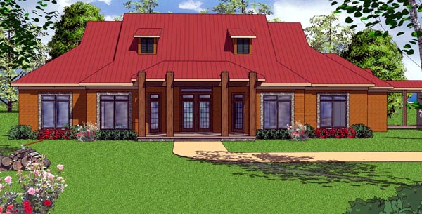 Contemporary Country Florida House Plan 57852 Elevation