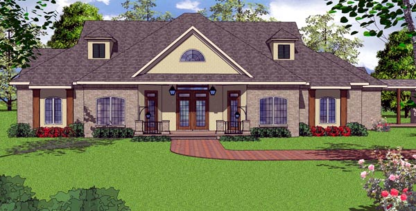 Contemporary Country Florida House Plan 57854 Elevation