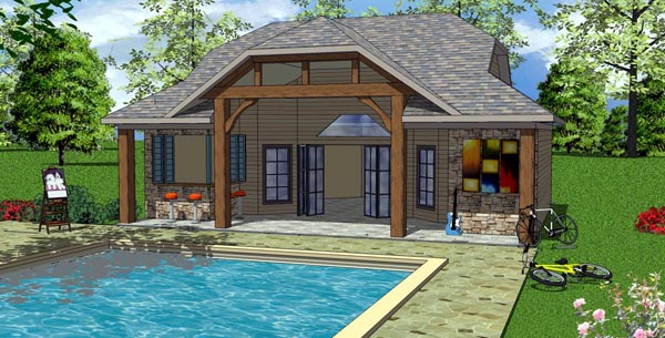 Coastal, Cottage, Craftsman House Plan 57857 with 1 Beds , 1 Baths Elevation