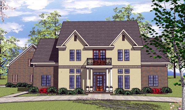 Colonial Country Southern House Plan 57858 Elevation