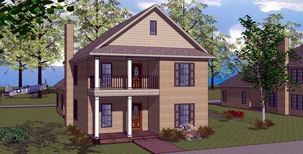 Colonial Southern Elevation of Plan 57868