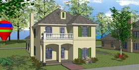 Colonial , Southern House Plan 57870 with 3 Beds, 3 Baths, 2 Car Garage Elevation