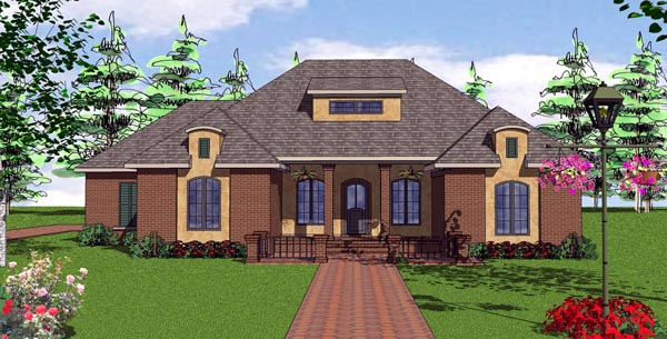 Contemporary, Florida, Southern House Plan 57875 with 3 Beds, 2 Baths, 2 Car Garage Elevation