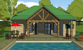 Craftsman , Cottage House Plan 57878 with 1 Beds, 2 Baths Elevation