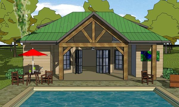 Cottage, Craftsman House Plan 57878 with 1 Beds, 2 Baths Elevation