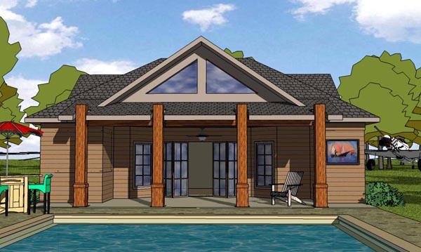 Cottage, Craftsman House Plan 57879 with 1 Beds, 2 Baths Elevation