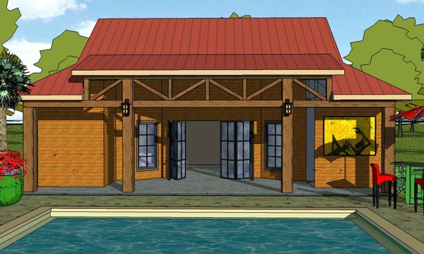 Cottage , Craftsman House Plan 57880 with 1 Beds, 2 Baths Elevation