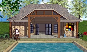 Cottage , Craftsman House Plan 57881 with 1 Beds, 2 Baths Elevation