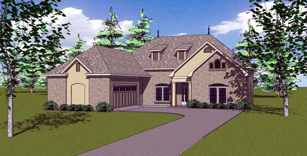 Contemporary, Florida, Southern House Plan 57885 with 4 Beds, 3 Baths, 2 Car Garage Elevation