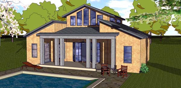 Cottage, Florida, Southern House Plan 57888 with 1 Beds, 2 Baths Elevation
