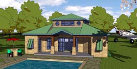 House Plan 57890 | Cottage Florida Southern Style Plan with 1176 Sq Ft, 1 Bedrooms, 2 Bathrooms Elevation