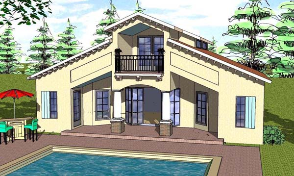 Cottage , Florida , Southern House Plan 57892 with 1 Beds, 2 Baths Elevation