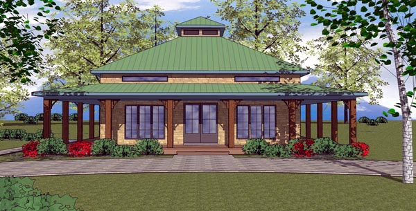 Cottage, Florida, Southern House Plan 57895 with 2 Beds, 2 Baths Front Elevation